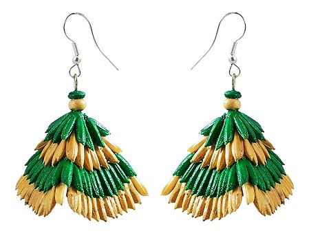Green with Beige Paddy Jhumka Earrings