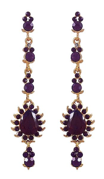 Dark Purple Stone Studded Dangle Earrings