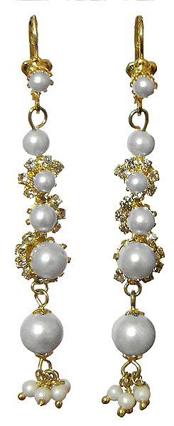Faux White Pearl Metal Drop Earrings