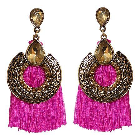 Dark Pink Silk Thread Earrings