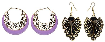 Set of 2 Pairs Black Acrylic Leaf Earrings and Mauve Hoop Earrings