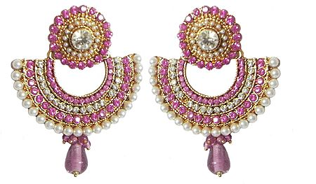 White and Pink Stone Studded Earrings with White Beads
