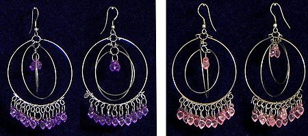Set of 2 Pairs Metal Ring Earrings with Mauve and Pink Beads