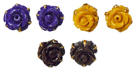 Set of 3 Pairs Purple, Yellow and Brown Rose Earrings