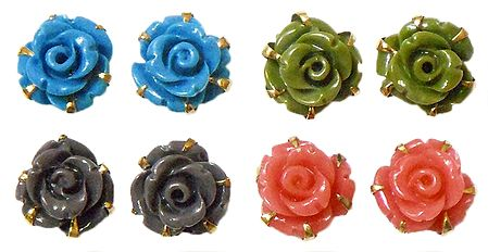 Set of 4 Pairs Pink, Green, Cyan Blue and Grey Rose Earrings