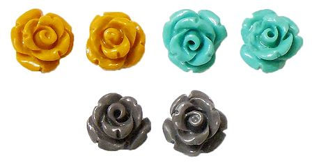 Set of 3 Pairs Yellow, Cyan Blue and Grey Rose Earrings