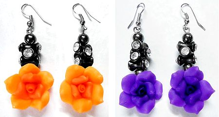 Set of 2 Pairs Saffron and Purple Rose with Stone Studded Dangle Earrings