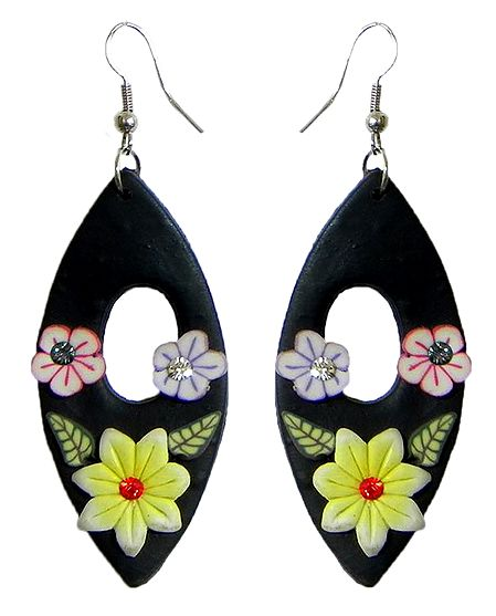 Black Floral Rubber Earrings