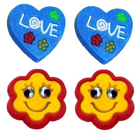 2 Pairs of Rubber Flower Stud Earrings
