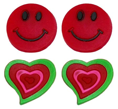 2 Pairs of Rubber Heart and Smiley Stud Earrings