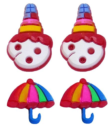 2 Pairs of Rubber Clown and Umbrella Stud Earrings