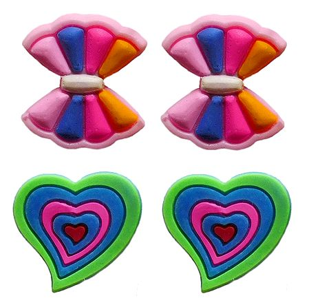 2 Pairs of Rubber Bow and Heart Stud Earrings