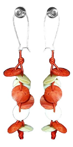 Saffron with White Shell Earrings