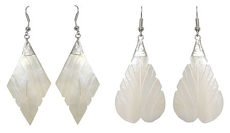 Set of 2 Pairs Leaf Shell Earrings