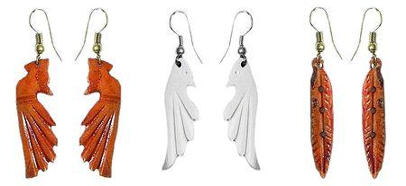 Set of 3 Pairs Wood Earrings