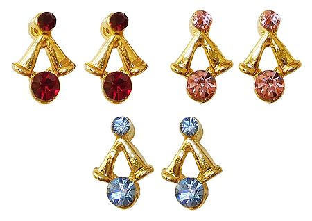 Set of 3 Pairs of Red, Pink and Blue Stone Studded Small Earrings