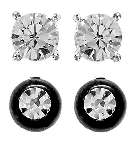 Set of 2 Pairs White Stone Studded Stud Earrings