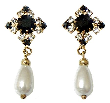 Black and White Stone Studded Drop Earrings