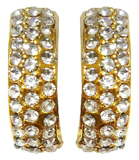 White Stone Studded and Gold Plated Metal Push Earrings