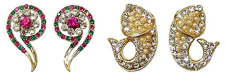 Set of 2 Pairs White, Green and Magenta Stone Studded Question Mark and Fish Stud Earrings