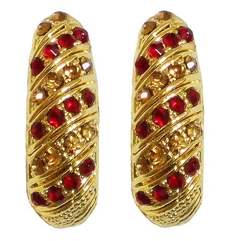 Stone Studded with Gold Plated Earrings