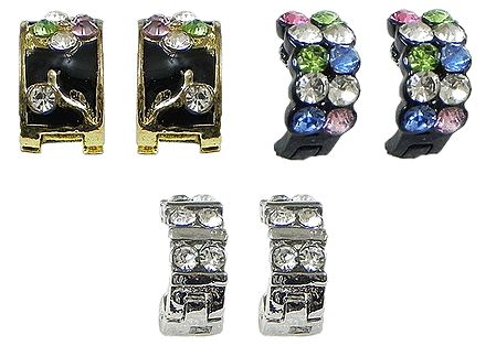 Set of 3 Pairs White and Multicolor Stone Studded Earrings
