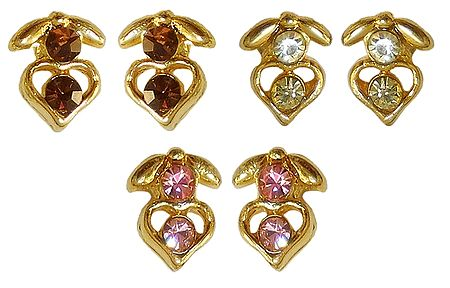 Set of 3 Pairs White, Brown and Pink Stone Studdes Earrings