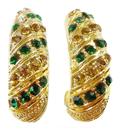 Pair of Green Stone Studded Gold Plated Earrings