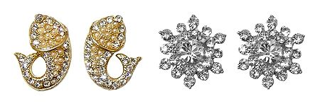 Set of 2 Pairs Faux Zirconia Studded Flower and Fish Stud Earrings
