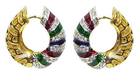 Gold Plated and White Stone Studded Hoop Earrings