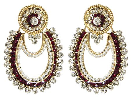 White and Maroon Stone Studded Earrings with White Beads