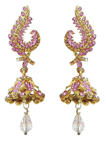 Faux Ruby and Citrine Jhumka Earrings