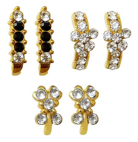 Set of 3 Stone Studded Earrings