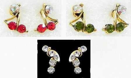 Set of 3 Pairs Multicolor Small Stone Setting Stud Earrings