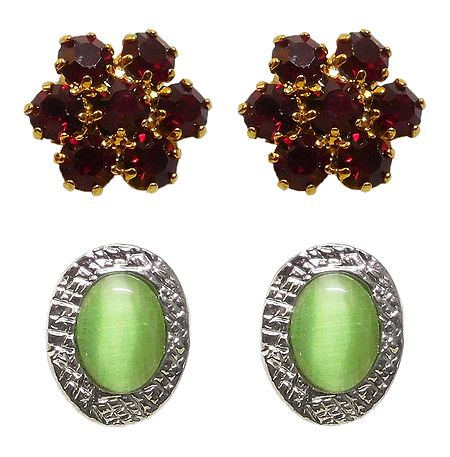 2 Pairs of Maroon and Green Stone Studded Stud Earrings