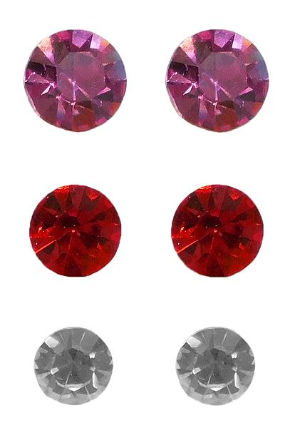3 Pairs of Pink, Red and White Stone Stud Earrings