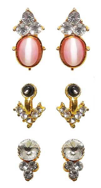 3 Pairs of White, Black and Pink Stone Studded Metal Stud Earrings