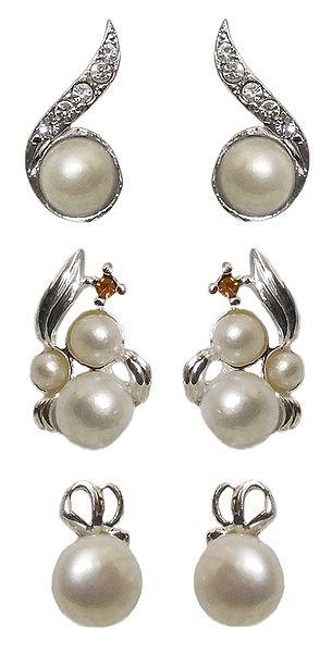 3 Pairs of Metal Stud Earrings with White Bead