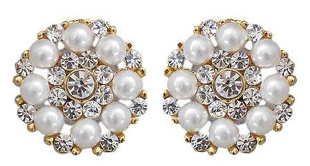 White Stone and Bead Stud Earrings