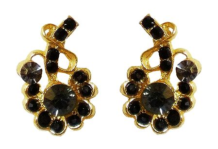 Black Stone Studded Earrings