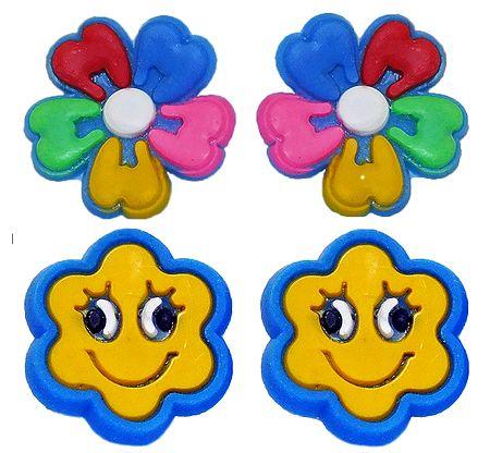 Pair of Rubber Flower Stud Earrings