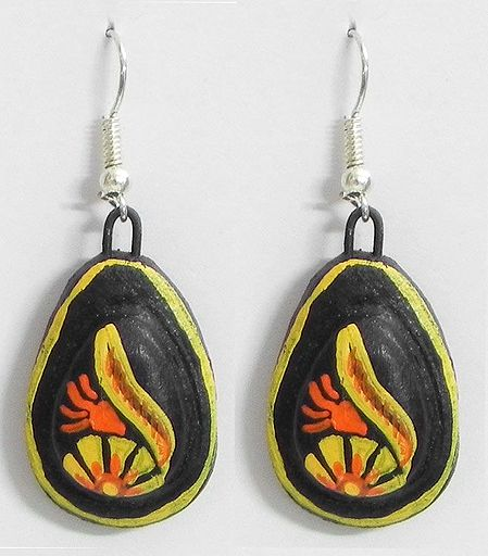 Pair of Hand Painted Yellow with Red Design on Black Terracotta Dangle Earrings