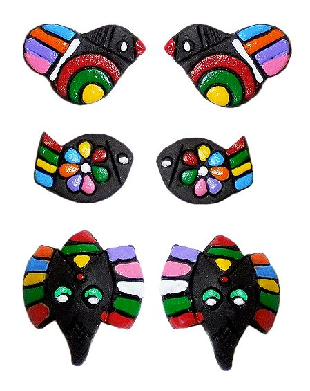 3 Pairs Hand Painted Black Terracotta Stud Earrings