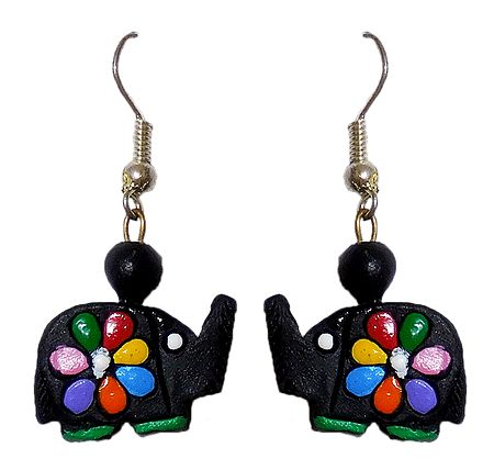 Hand Painted Black Terracotta Earrings