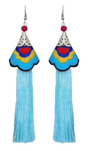 Embroidered Light Blue Silk Thread Earrings