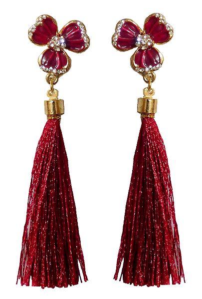 Red Silk Thread Earrings