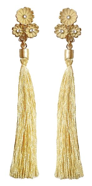 Beige Silk Thread Earrings