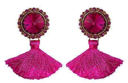 Magenta Stone Studded Silk Thread Earrings