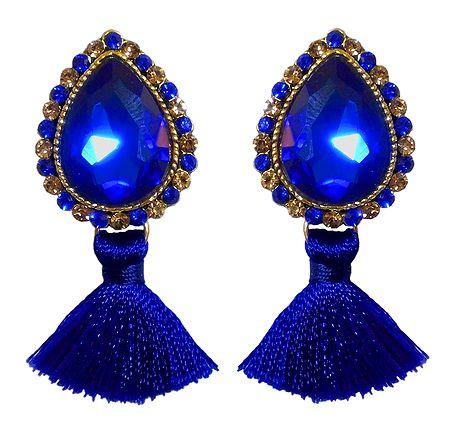 Blue Stone Studded Silk Thread Earrings