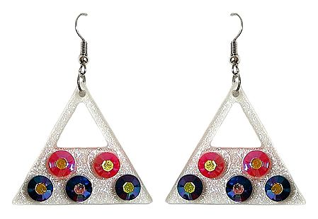 Red and Blue Stone Studded Acrylic Traingle Earrings
